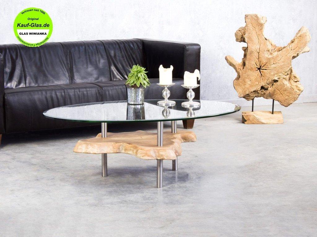 Holzglastisch designer couchtisch wurzelholz glasplatte oval 90x65cm - Designer couchtisch glas ...