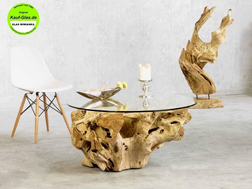 Holzglastisch designer couchtisch baumwurzel mit for Designer couchtisch glasplatte