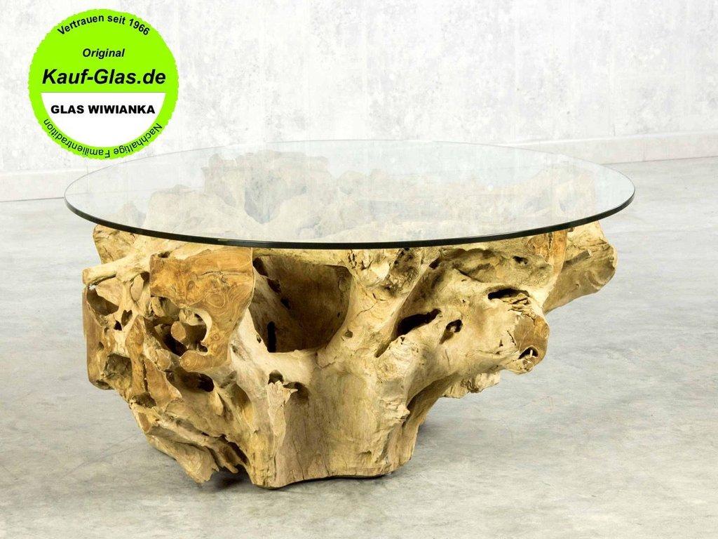Holzglastisch Designer Couchtisch Wurzelholz Glasplatte Oval 90x65cm
